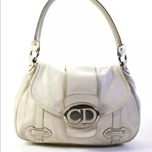 Christian Dior CD Mirrored Flap Shoulder Bag Ivory